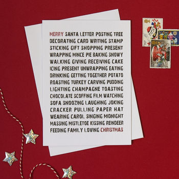 Typographic Christmas list card