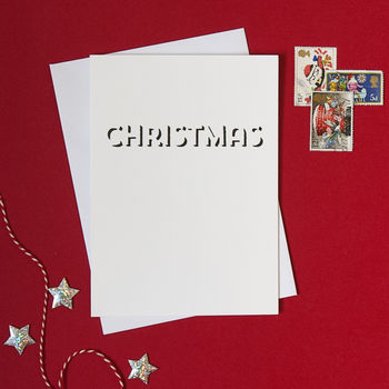 typographic white Christmas card
