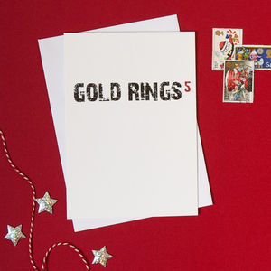 Pack Of Four 'Five Gold Rings' Christmas Cards