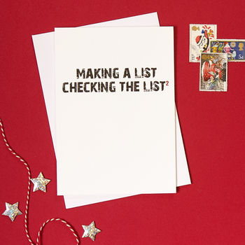 Typographic making a list science geek Christmas card