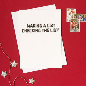Pack Of Four 'Making A List' Christmas Cards