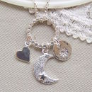 Personalised Silver Moon, Heart And Sun Cluster Pendant