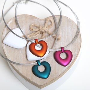 Pink, Teal Or Amber Heart Cut Out Necklace