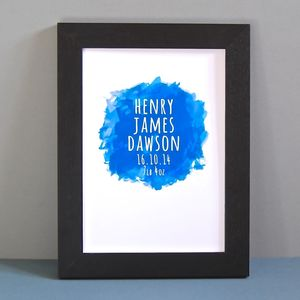 Personalised Watercolour New Baby Unframed Print