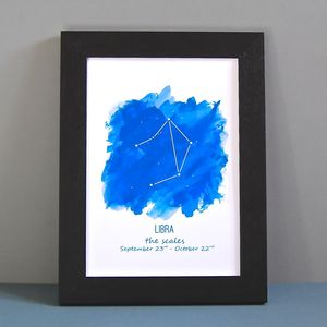 Personalised Starsign Astrology Unframed Print - 21st birthday gifts
