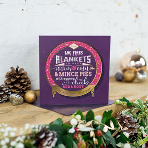 Gold Foil 'Blankets And Mince Pies' Christmas Card