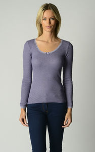 Spring Sale 40% Off Our Scallop Lace Long Sleeve Top