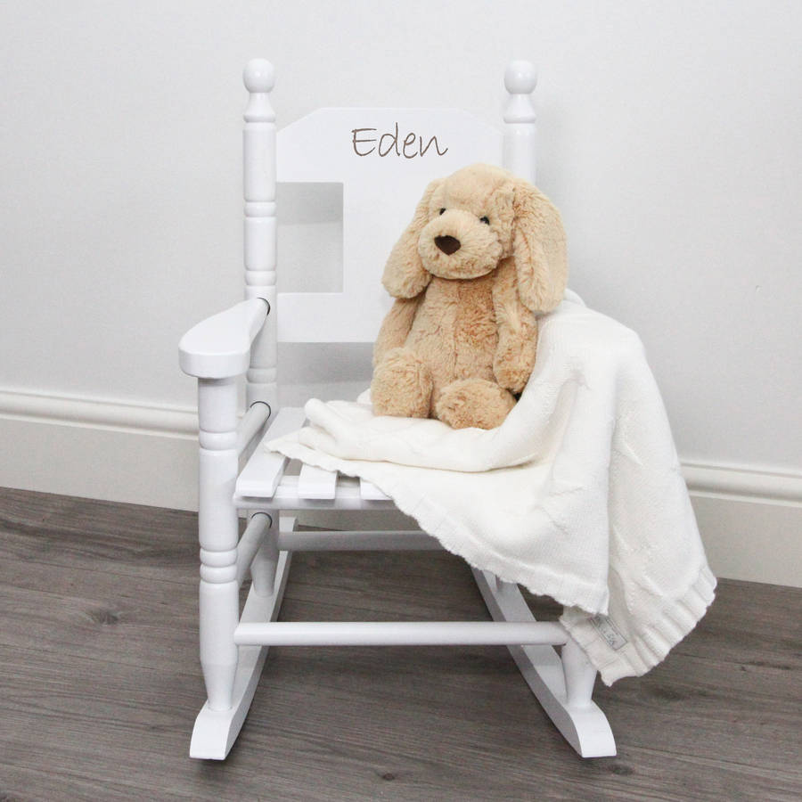 White Personalised Child S Rocking Chair