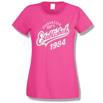 'Established' Birthday Ladies Tee Years 1998 To 1963