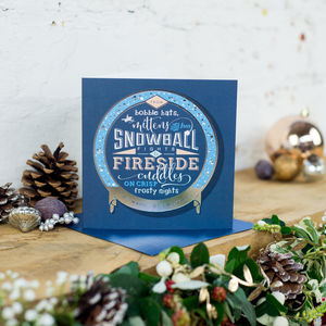 Silver Foil 'Snowballs And Firesides' Christmas Card