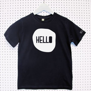 'Hello' Child's Organic Cotton T Shirt