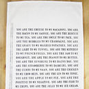 You Are The.. To My.. Cotton Tea Towel