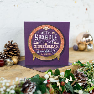 Gold Foil 'Sparkles And Gingerbread' Christmas Card