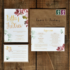 Hand Lettered Watercolour Wedding Invitation - invitations