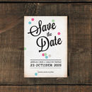 Vintage Confetti Save The Date Card Or Magnet