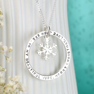 Personalised Silver Eternity Snowflake Necklace - last-minute christmas decorations