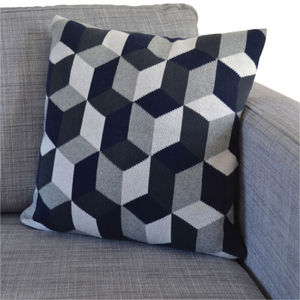 Tumbling Blocks Cotton Knit Cushion: Three Colourways - patterned cushions