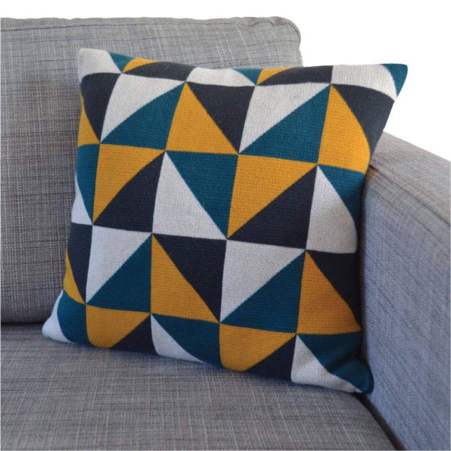 Triangles cotton knit cushion three colourways by sophie home mustard geo knit cushion bankloansurffo Gallery