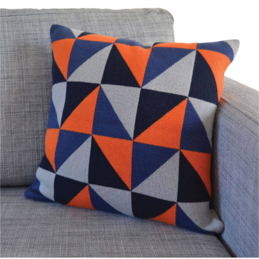 Triangles cotton knit cushion three colourways by sophie home orange geo knit cushion bankloansurffo Gallery