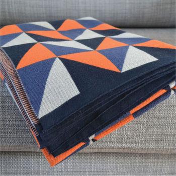 Triangles Cotton Knit Throw: Three Colourways