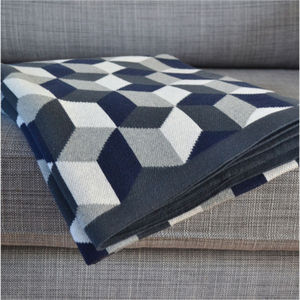 Tumbling Blocks Cotton Knit Throw - bedroom