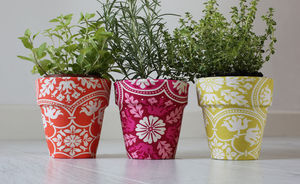 Set Of Three Fabric Flower Pots - pots & planters