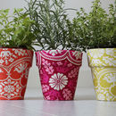 Set Of Three Fabric Flower Pots