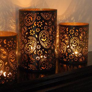 Black Cut Out Lantern - candles & candlesticks