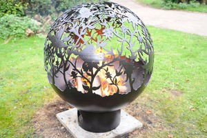 Sperical Firepit With Orchid Theme - fire pits & outdoor heating