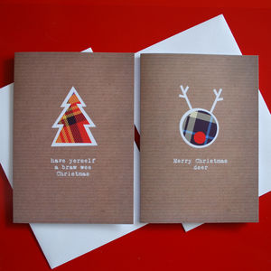 Pack Of Eight Scottish Printed Christmas Cards - cards