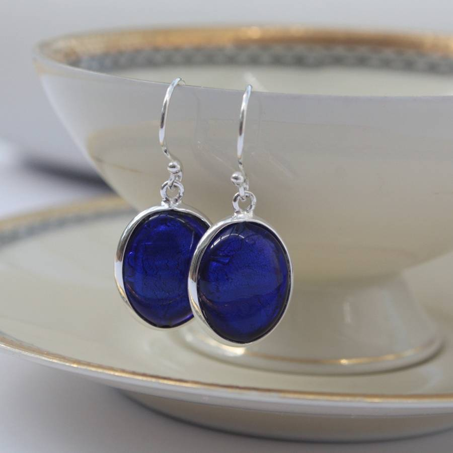 blue earrings earring drop pin dangling solid cobalt glass rectangle