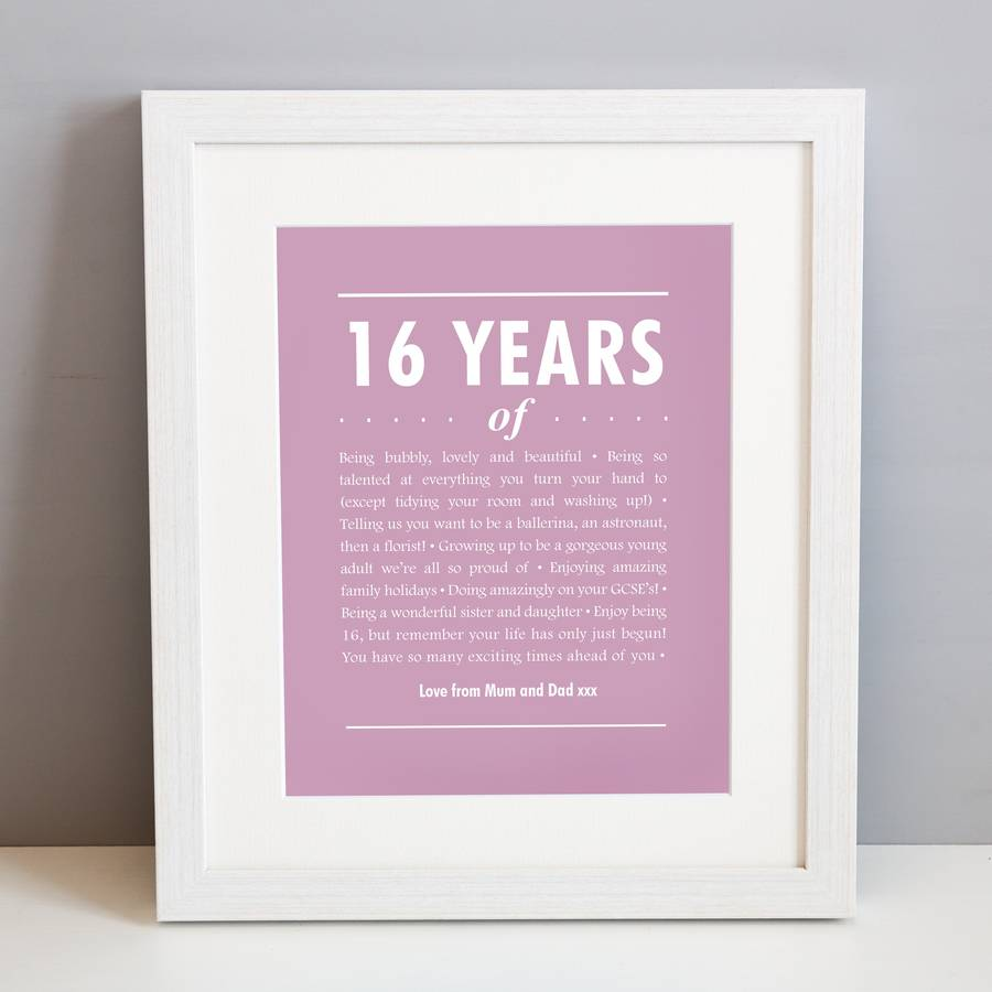 Personalised 16th birthday print by elephant grey artwork shown in orchid mauve in a white frame bookmarktalkfo Gallery