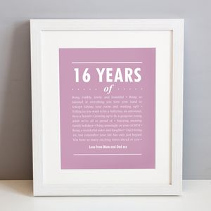 Personalised 16th Birthday Print - home accessories
