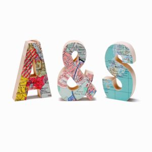 Wooden Map Location Letters Set Of Three