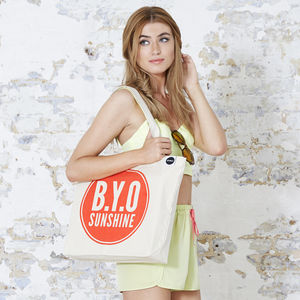 'Bring Your Own Sunshine' Beach Bag - picnics & barbecues