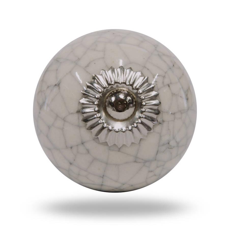 Ceramic Crackle Knob Chrome Finish