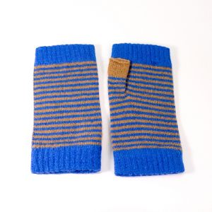 Ladies Lambswool Wrist Warmers Stripe