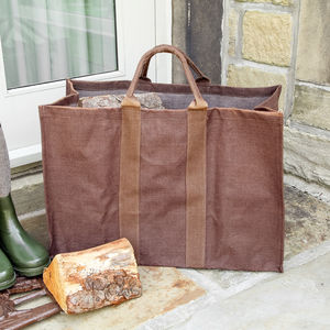 Autumn Brown Heavy Duty Log Bag - log baskets