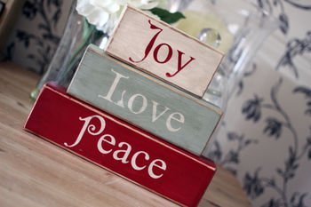 Vintage Joy, Love, Peace Christmas Decorative Blocks