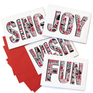 Pack Of Four Typographic Christmas Cards - cards & wrap