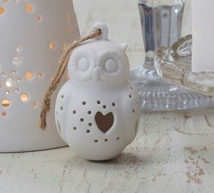 White Bisque Owl Christmas Tree Decoration - christmas sale
