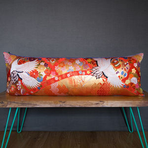 Upcycled Luxury Vintage Silk Brocade Kimono Cushion