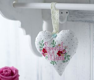 Fabric Lavender Special Mum Heart - hanging decorations