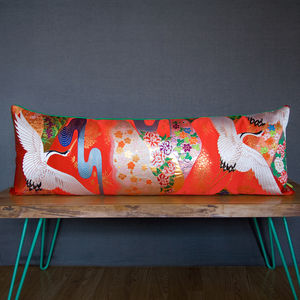 Upcycled Vintage 'Red River' Wedding Kimono Cushion - living room