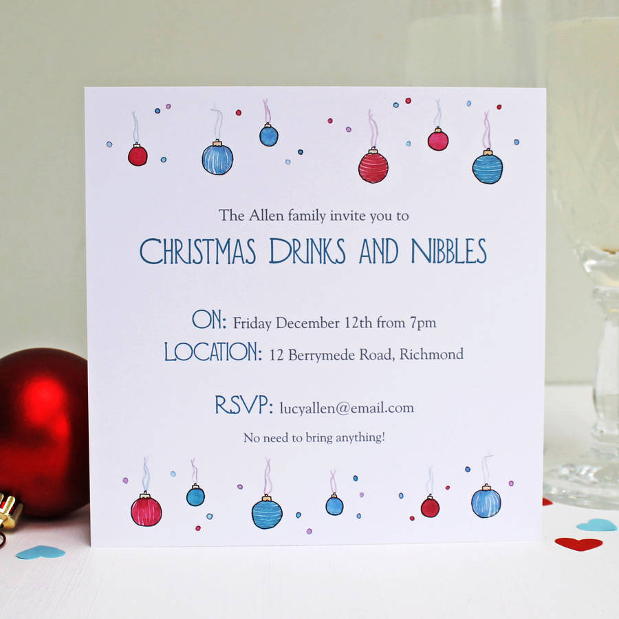 Personalised Baubles And Bubbles Christmas Invitations