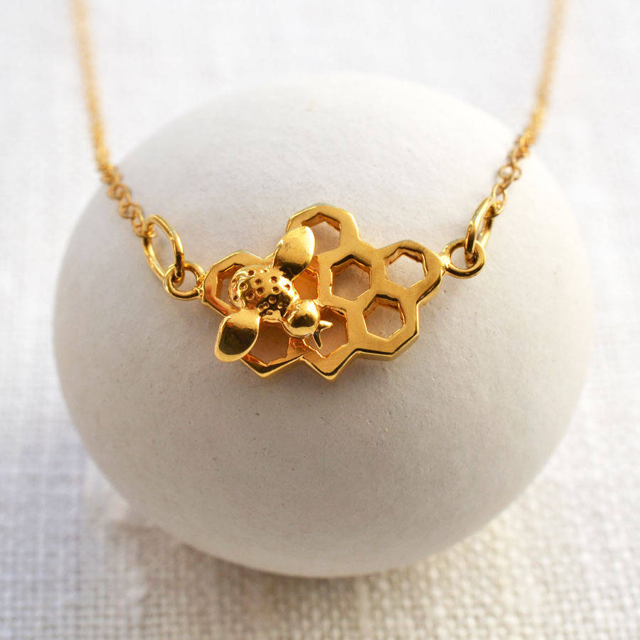 gold necklace img bee bumble vermeil product