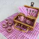 Ceramic Pink Picnic Tea Set In A Wicker Basket