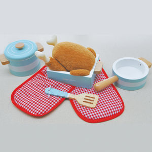 Kitchen Play Scene Blue Pots And Pans Accessory Blue