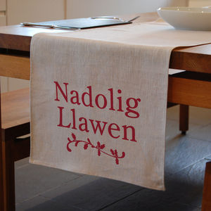 Welsh Christmas Linen Table Runner - kitchen