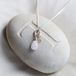 Personalised Rose Quartz And Silver Necklace - necklaces & pendants
